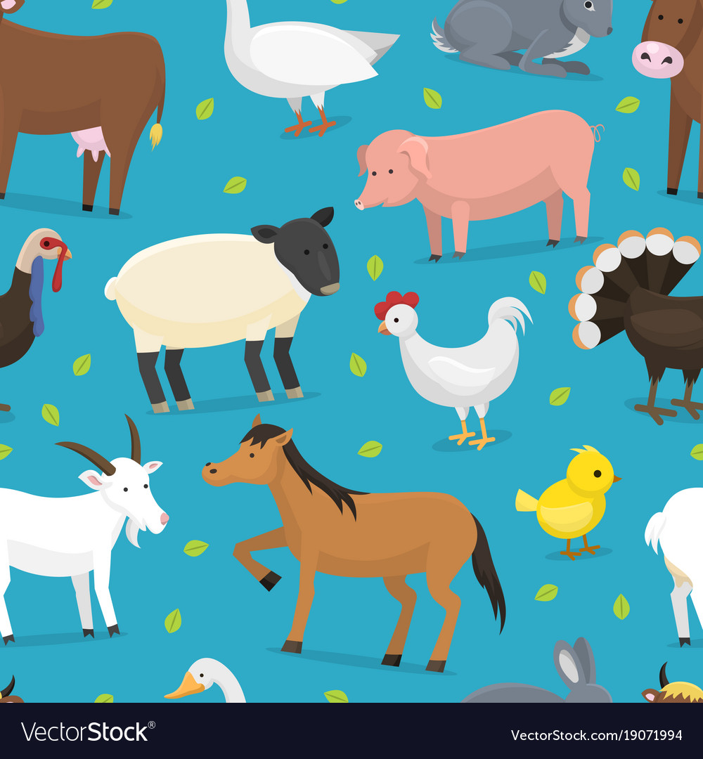 Farm animals domestic characters cow vector image
