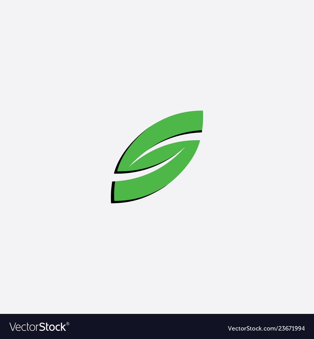 Green leaf letter s icon symbol