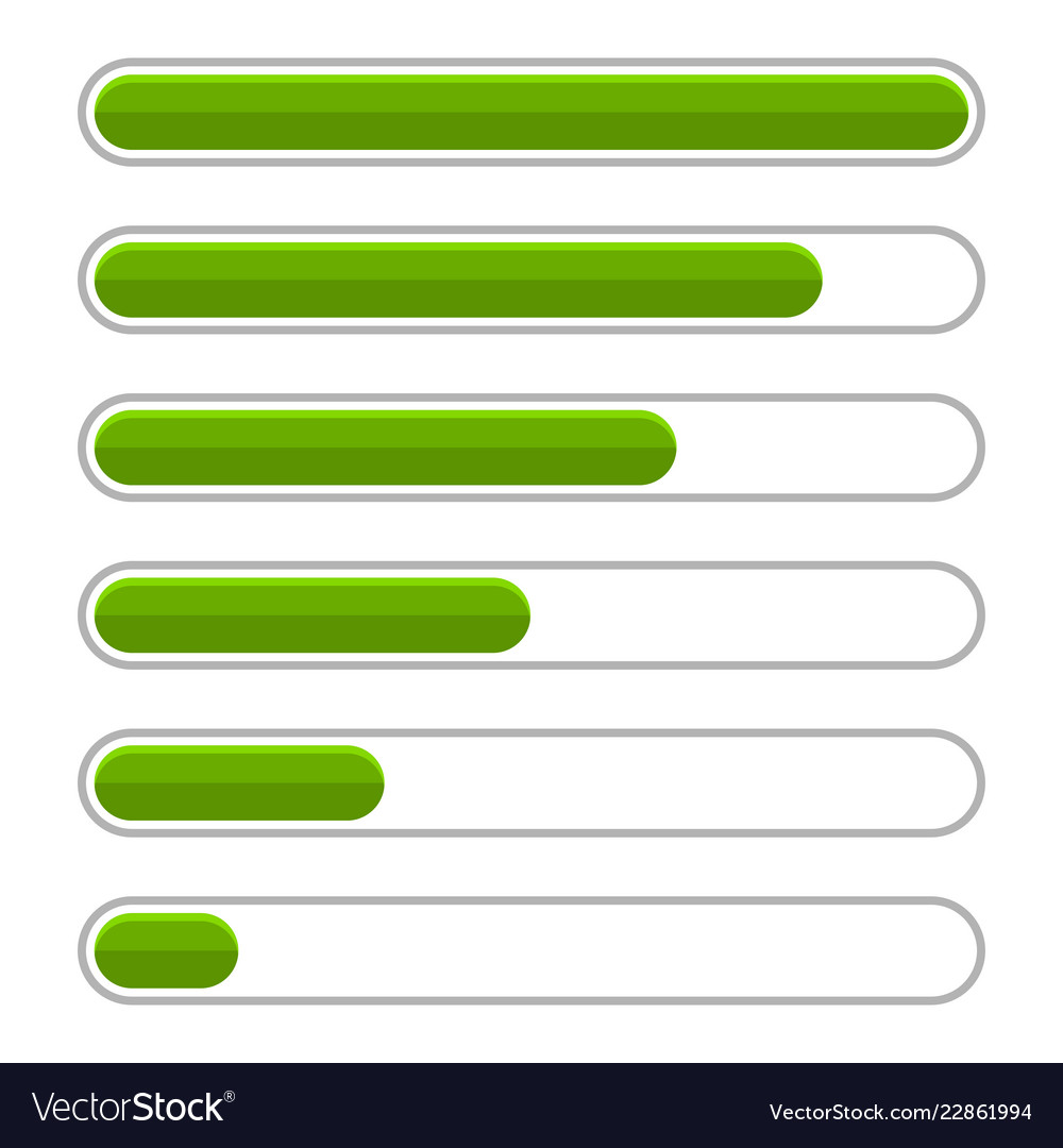 Green progress bar set on white background