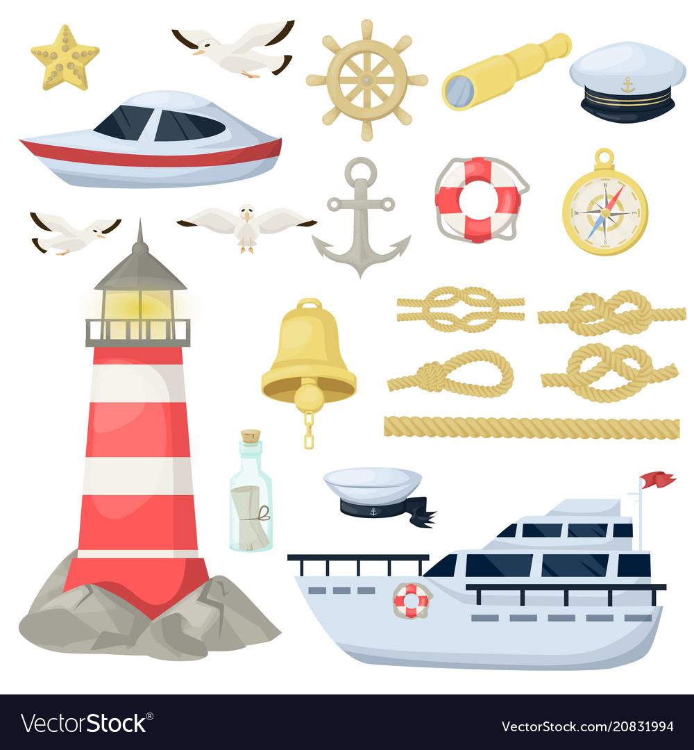 Nautical navy boats anchor wheel marine and vector image