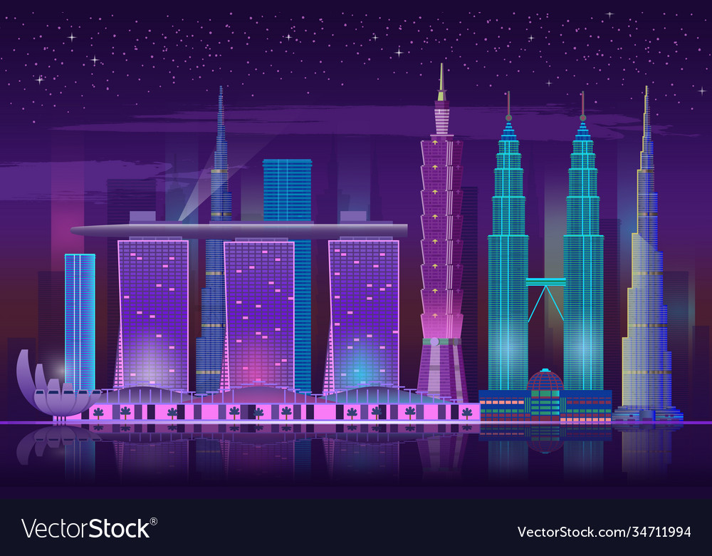 Neon skyscrapers retro 80s night cityscape