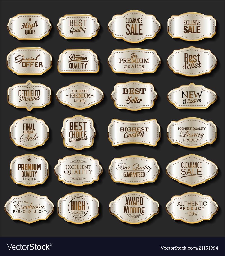 Silver and gold sale retro vintage badges and