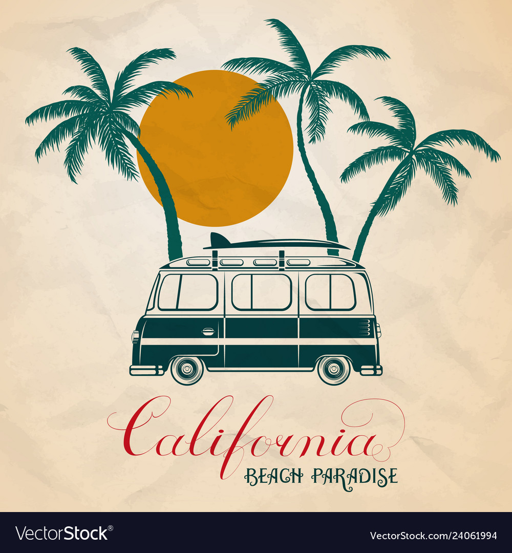 Summer retro bus and surf