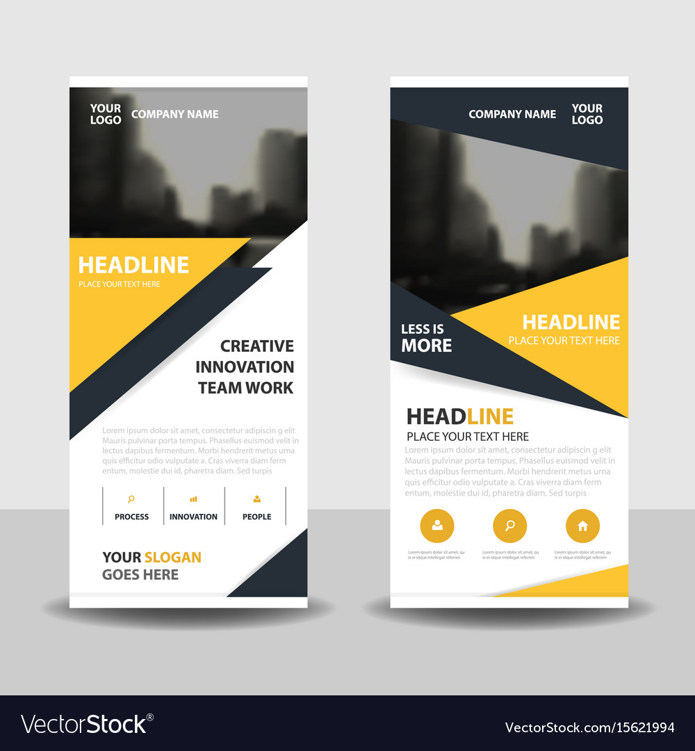 Yello triangle business roll up banner flat design