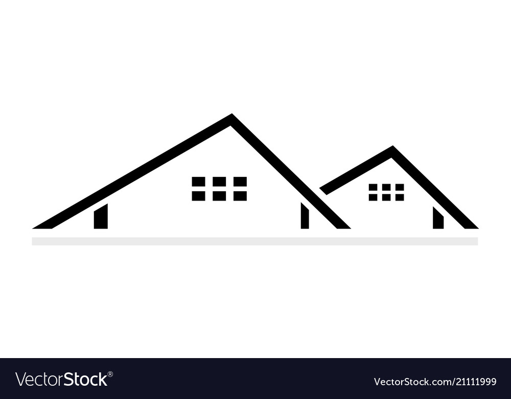 Abstract roofing logo design isolated on white
