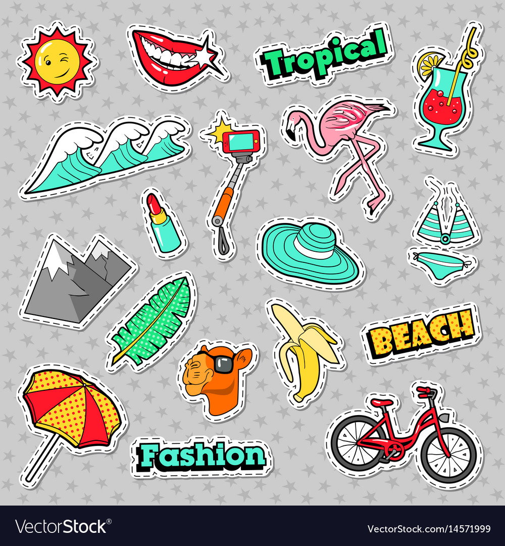 Beach tropical badges patches stickers