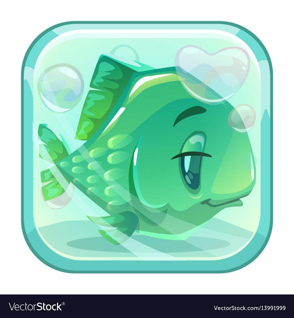 Cartoon green fish behind the glass