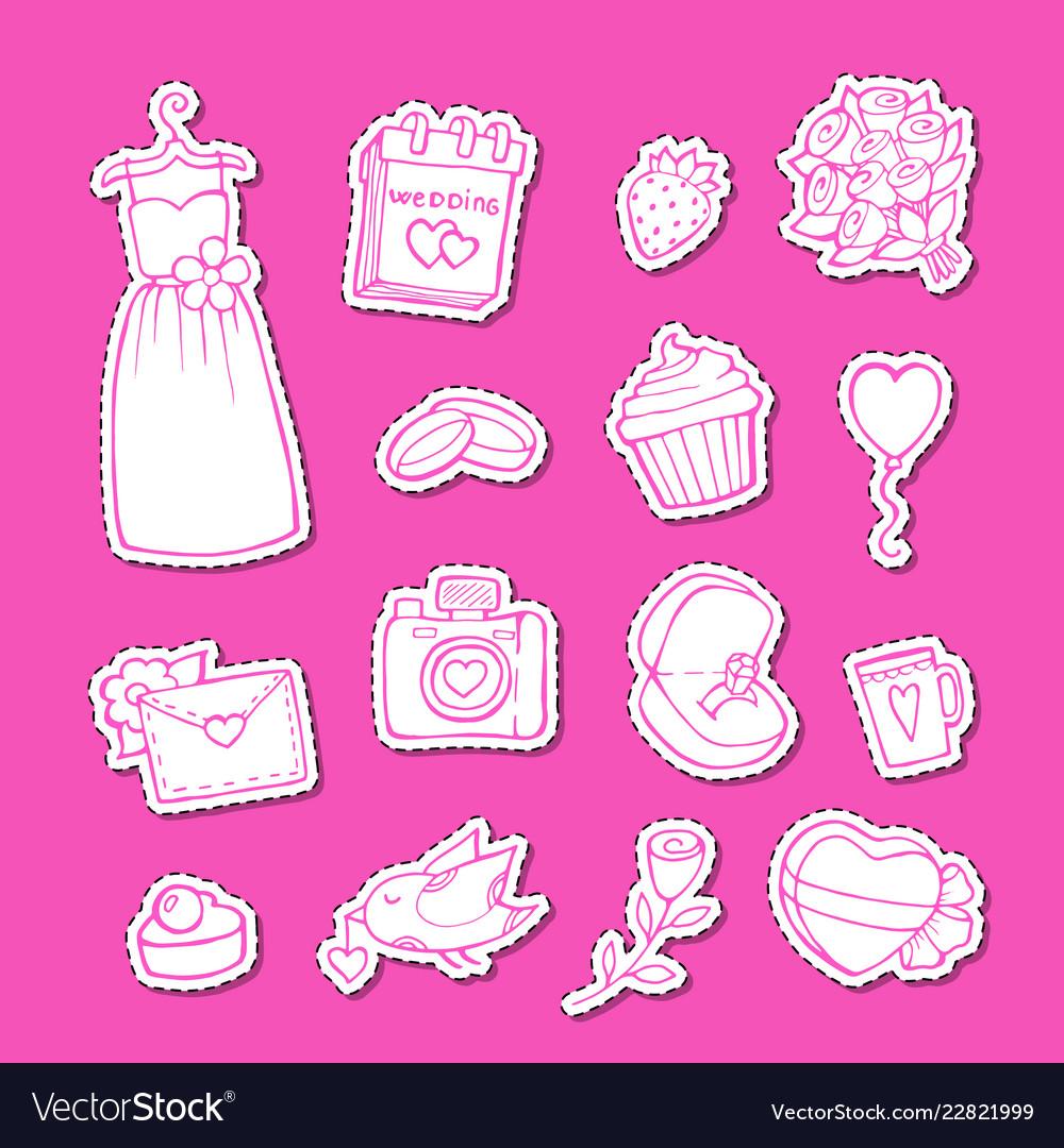 Doodle wedding elements stickers set