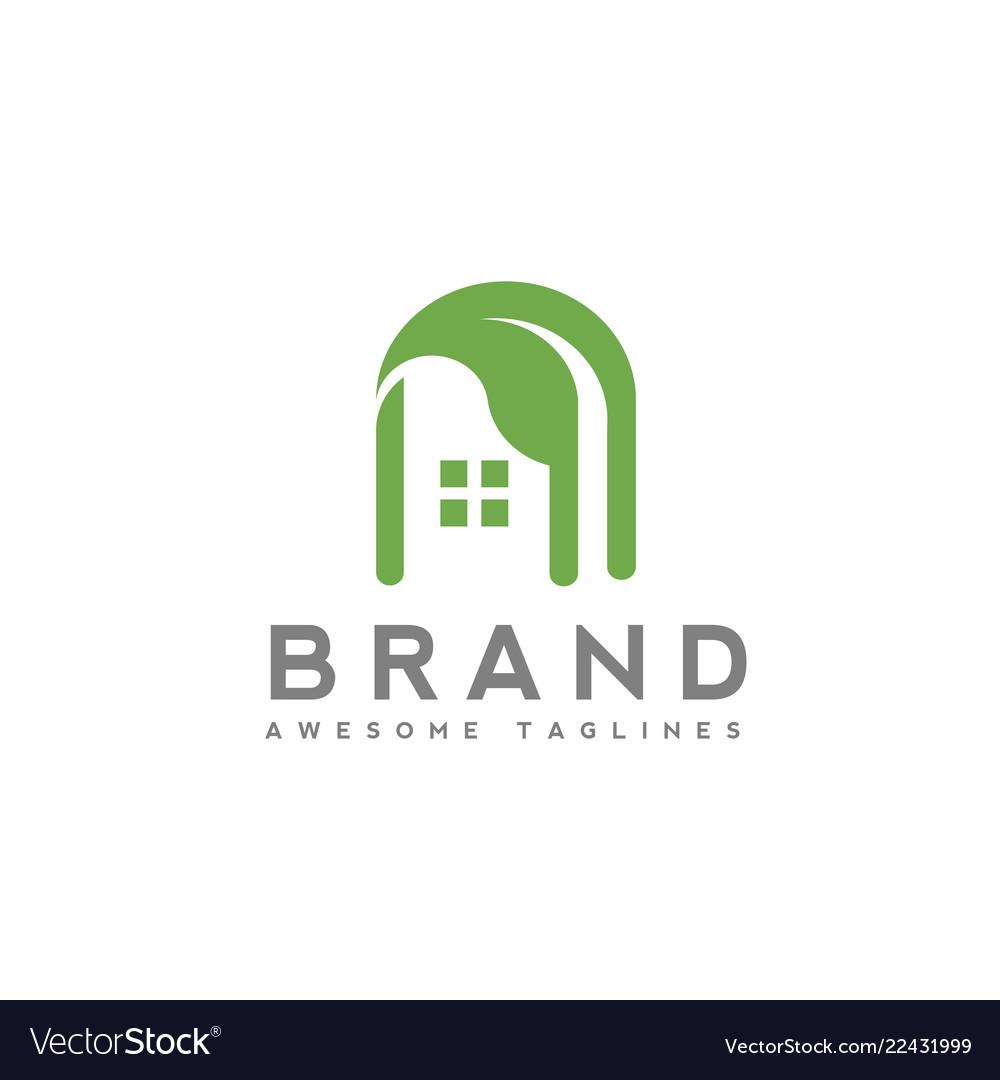 Green house building logo