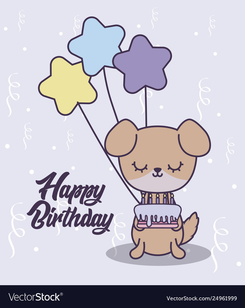 Happy Birthday Card With Cute Dog And Balloons Vector Image