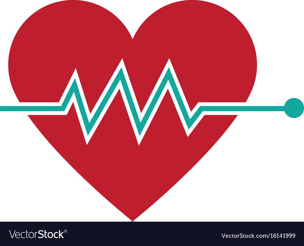 heartbeat heart beat pulse flat icon for medical vector image rh vectorstock com Medical Logos Symbols Vector Medical Logos Symbols Vector