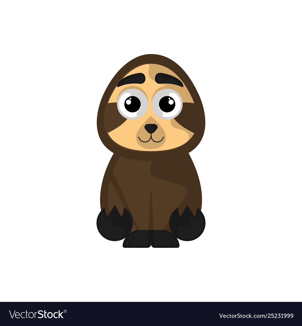 Isolated cute sloth on white background