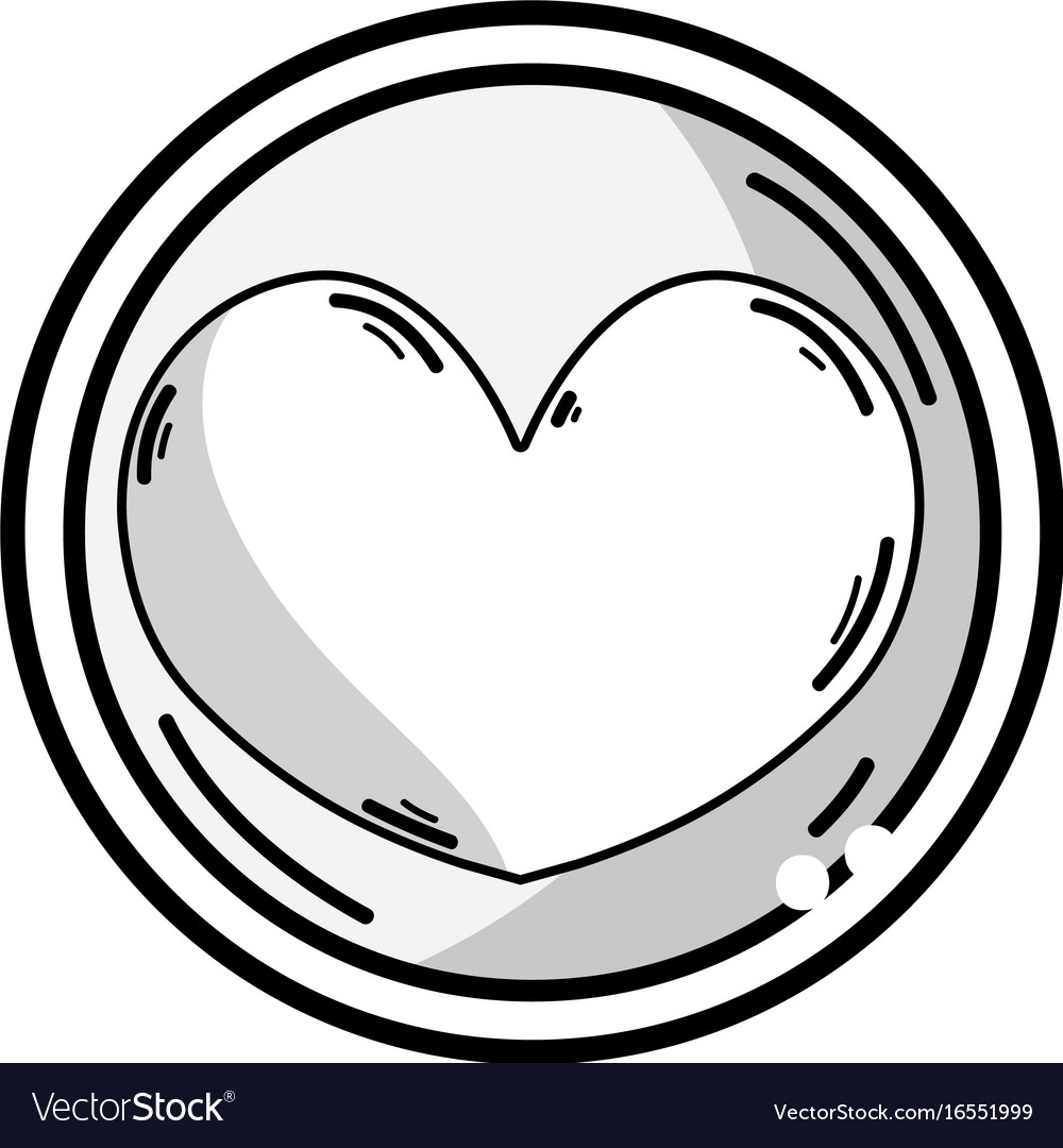Line heart emblem to love and romantic symbol vector image