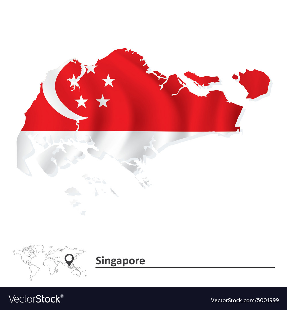 Map of Singapore with flag Royalty Free Vector Image