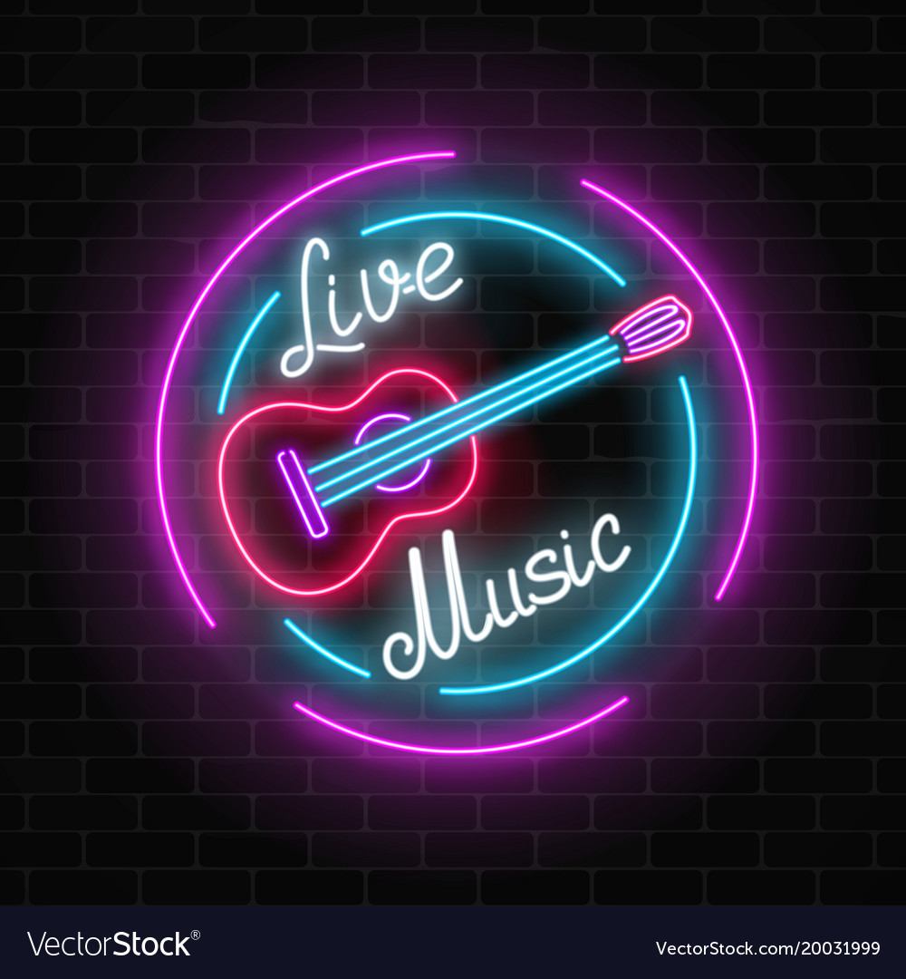 Neon sign of bar with live music on a brick wall