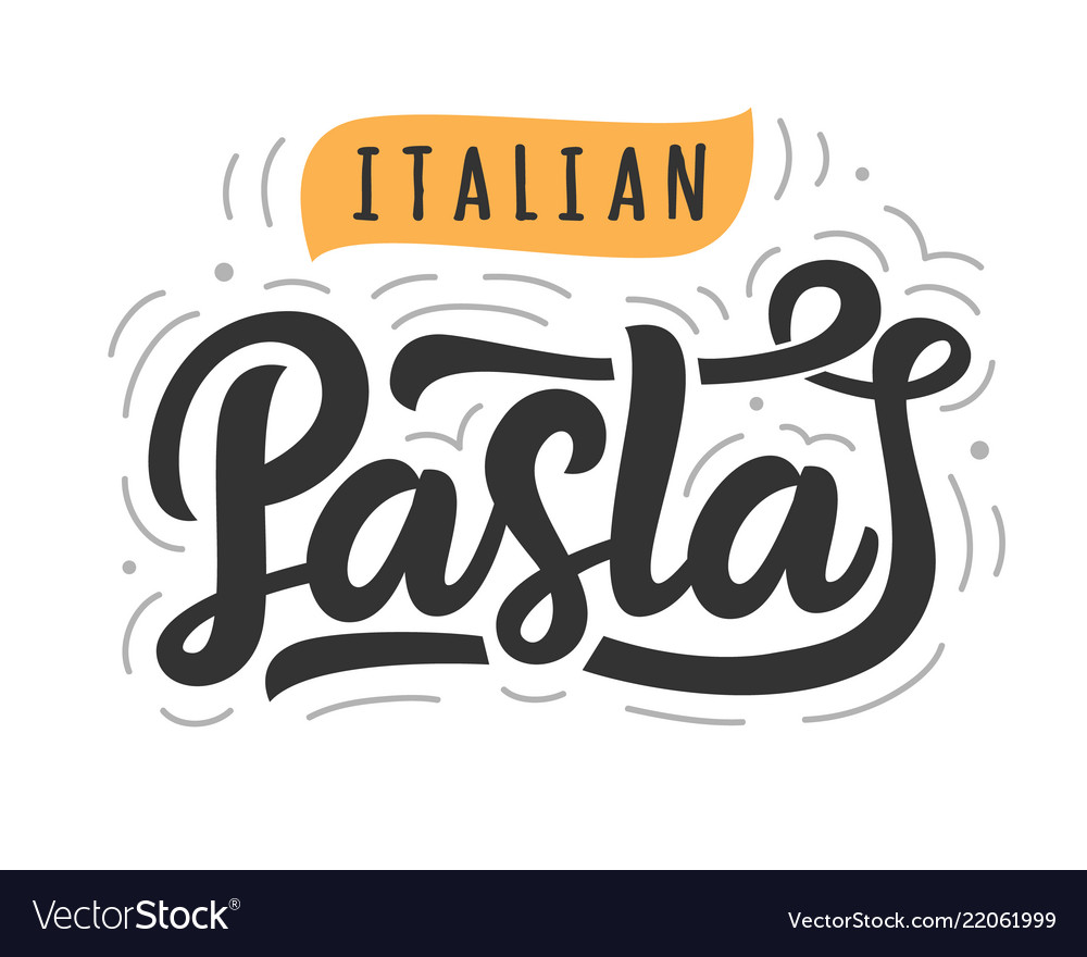 Pasta logo badge with modern calligraphy