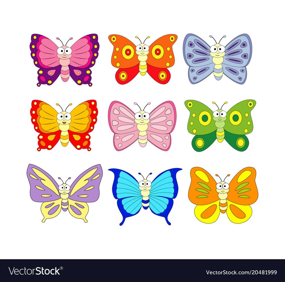 Set of 9 cartoon butterfly