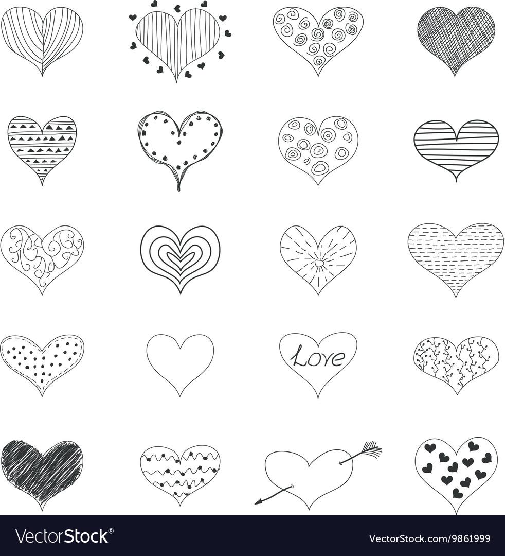 Sketch Romantic Love Hearts Retro Doodles Icons
