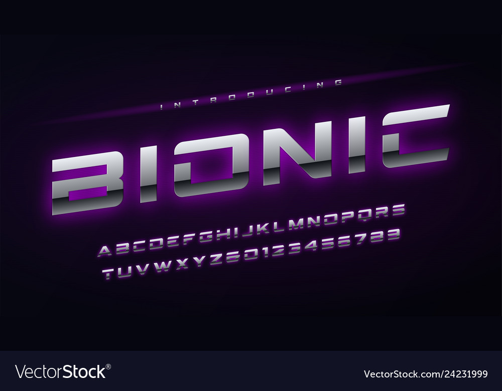 Technology metallic glowing english alphabet and