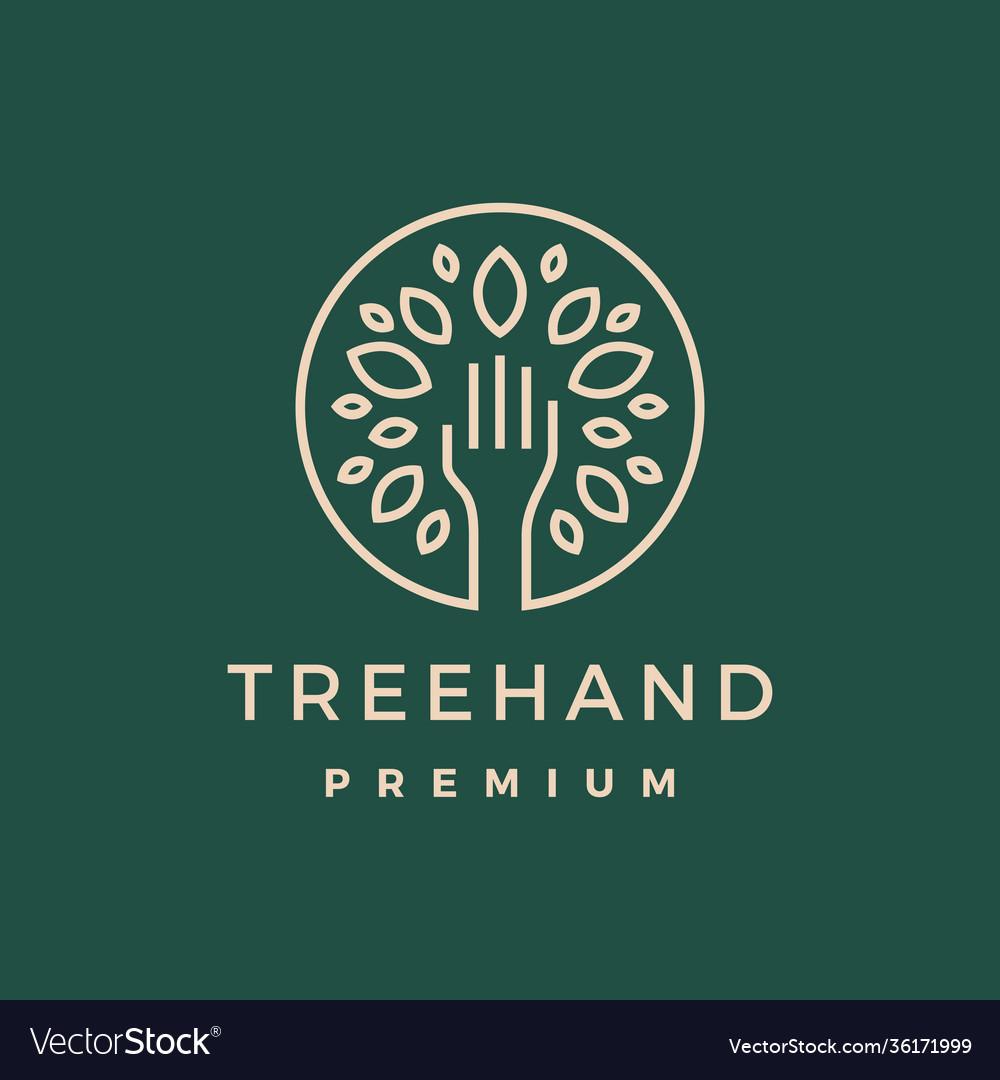 Tree hand leaf gold green logo icon