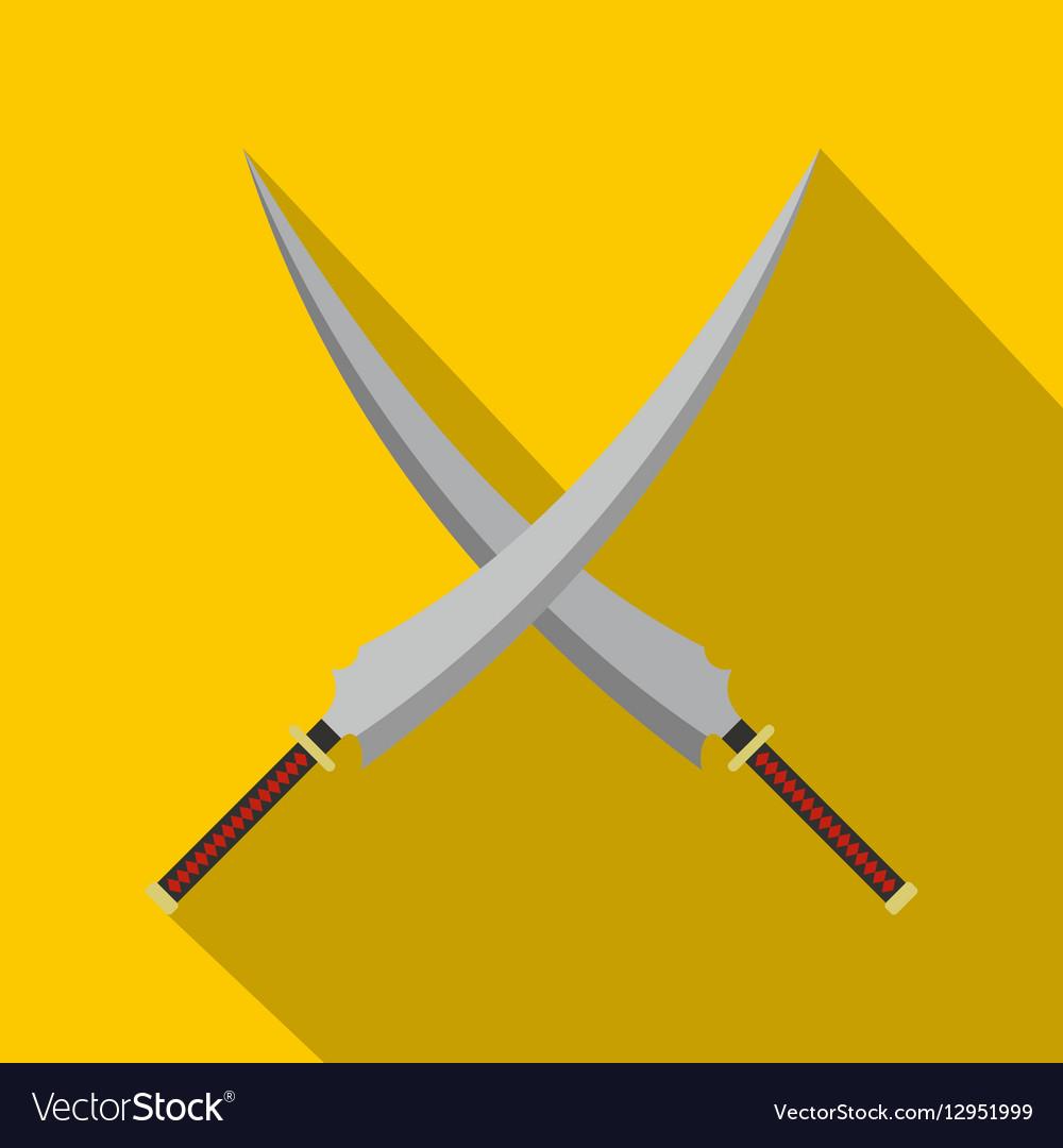 Two crossed Japanese samurai swords icon vector image