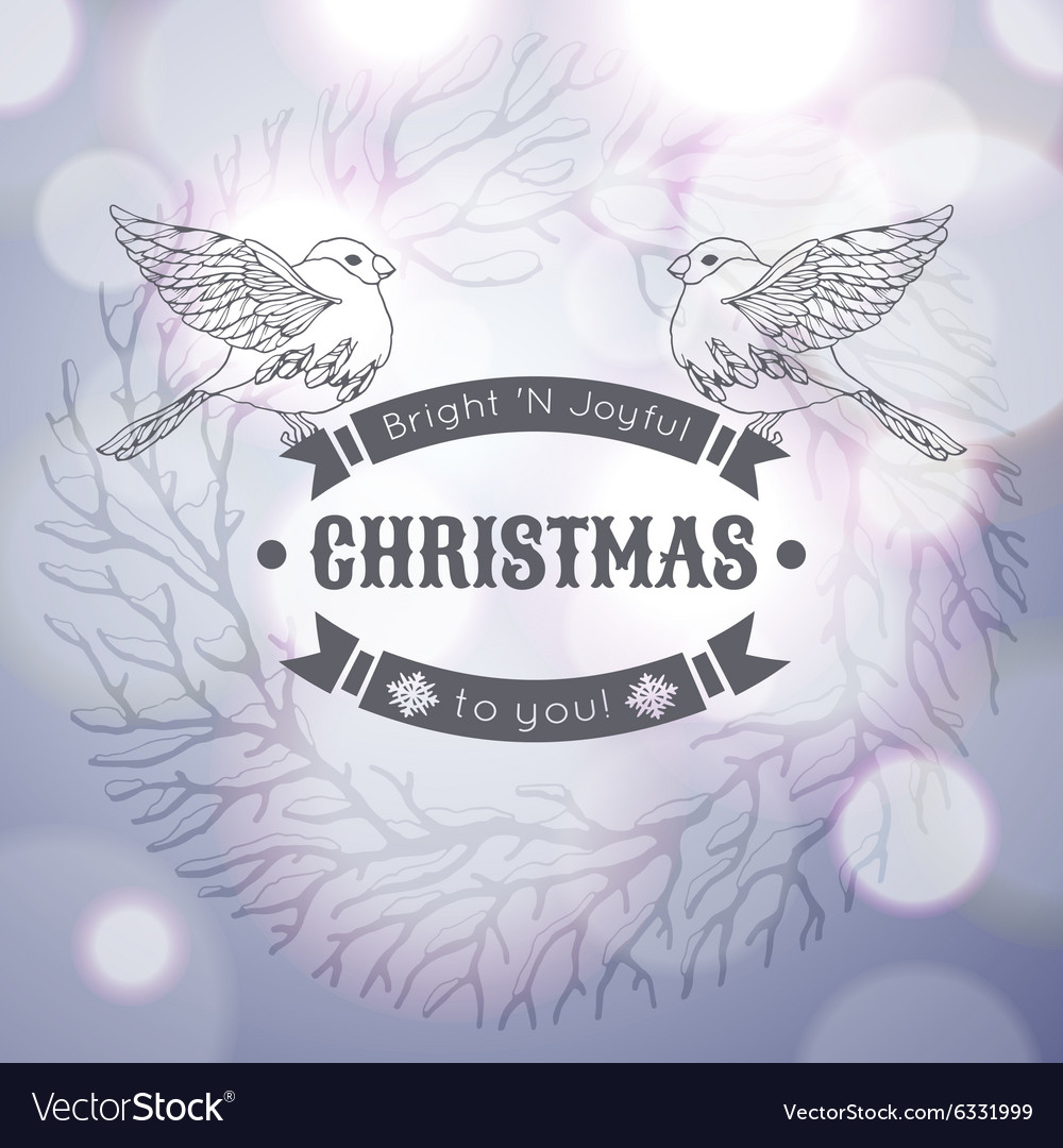Vintage Merry Christmas greeting card with linear vector image