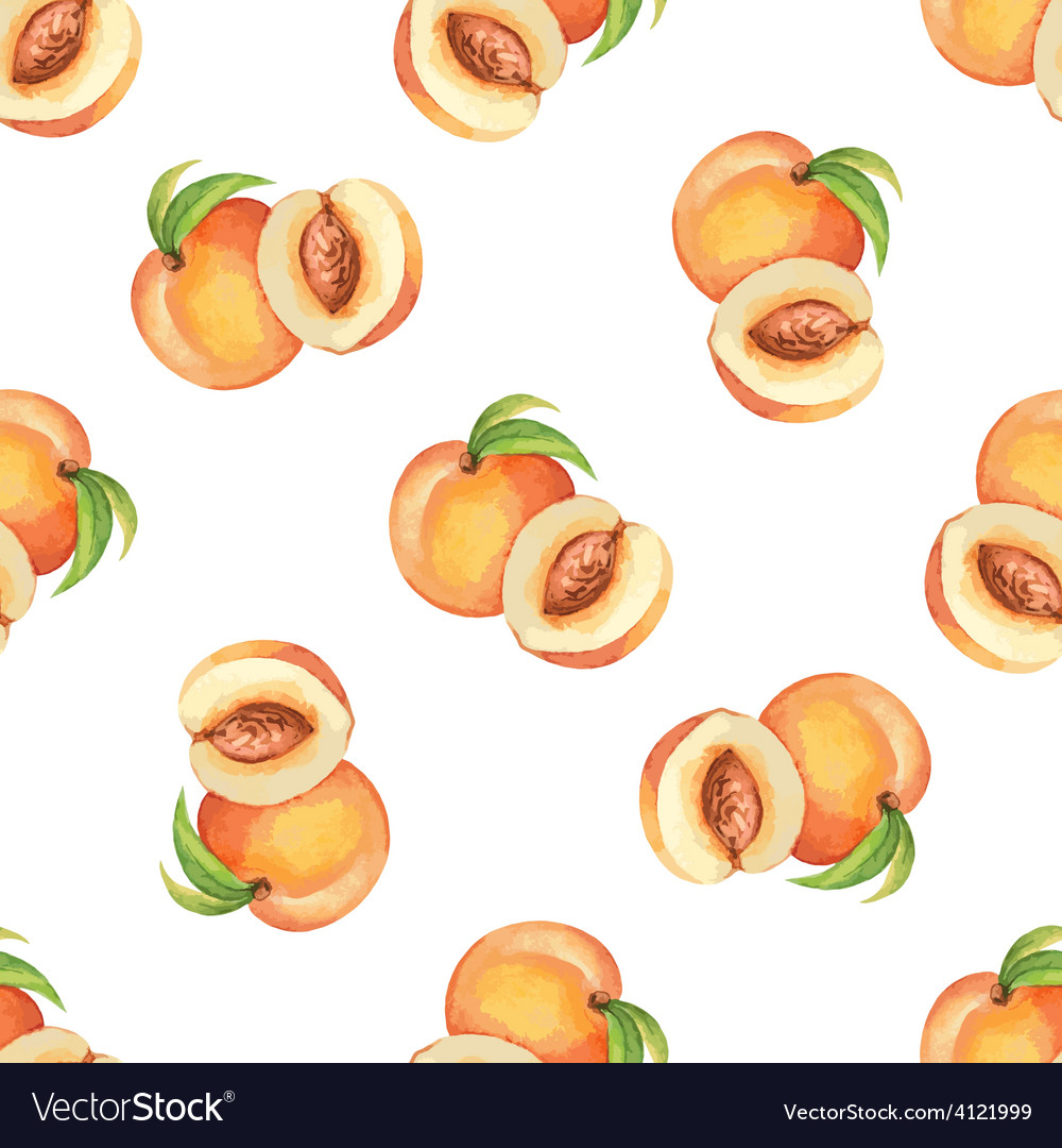 Watercolor pattern of fruit peach