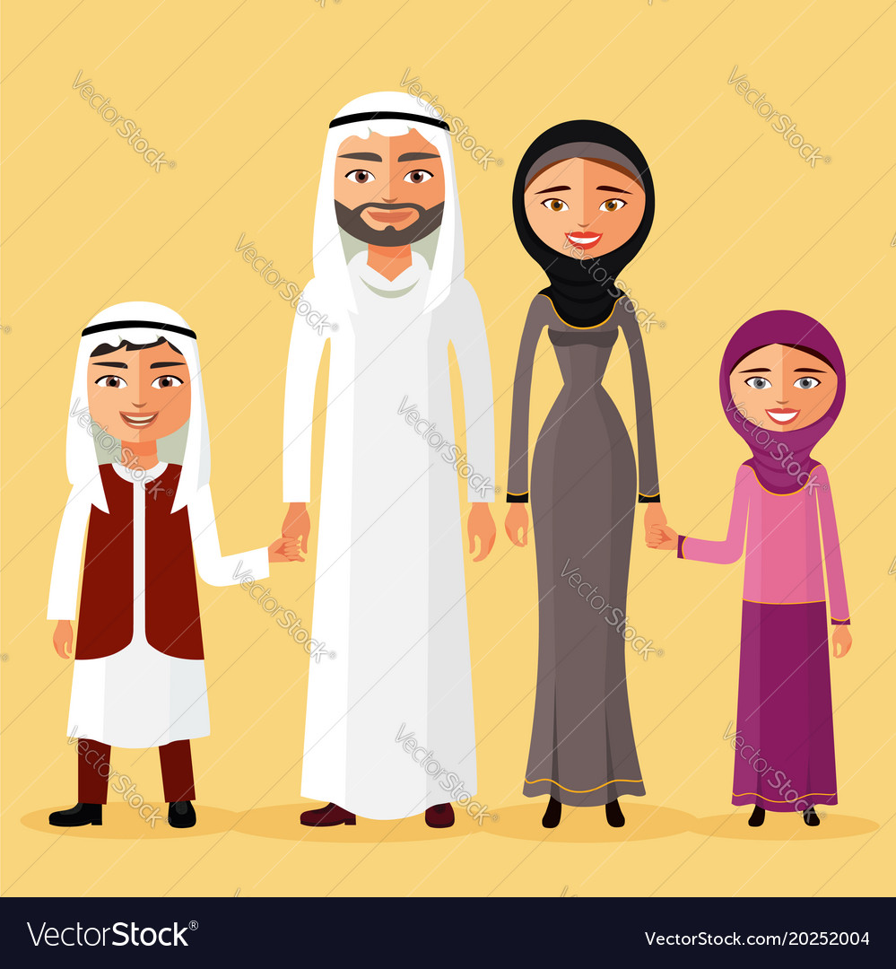 Arab family together in a beautiful dress