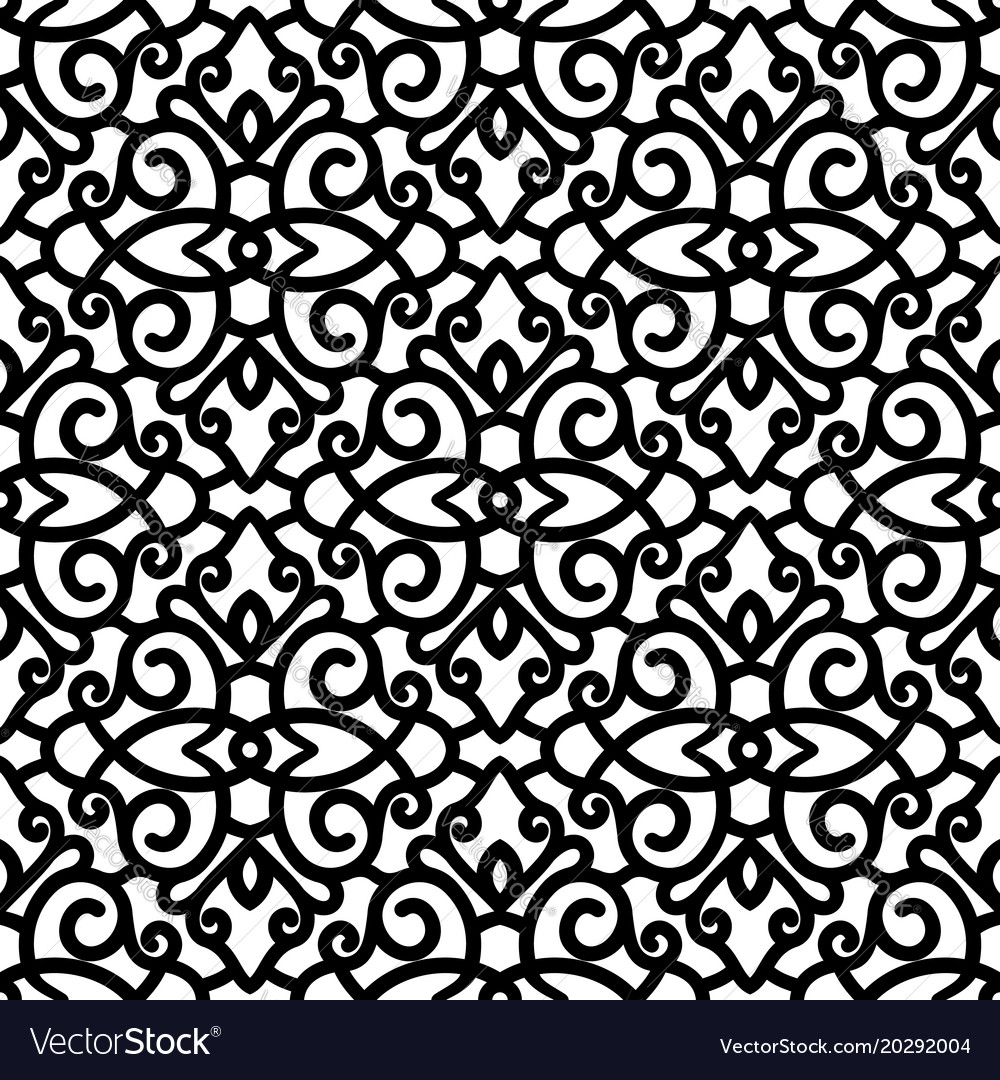 Black And White Swirls Pattern Vector Image