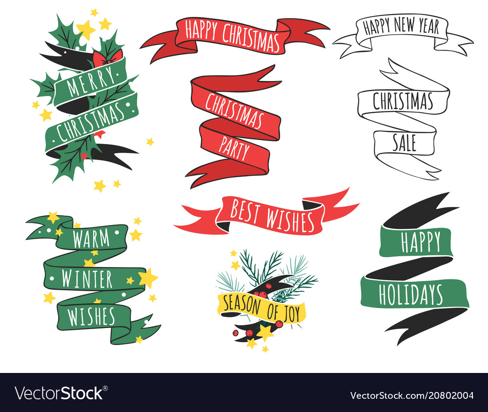 Christmas ribbons quote hand drawn tape