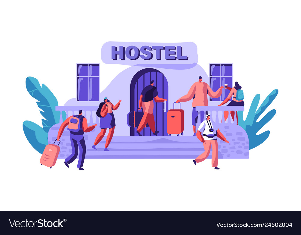 Exterior hostel for tourist arrival of character