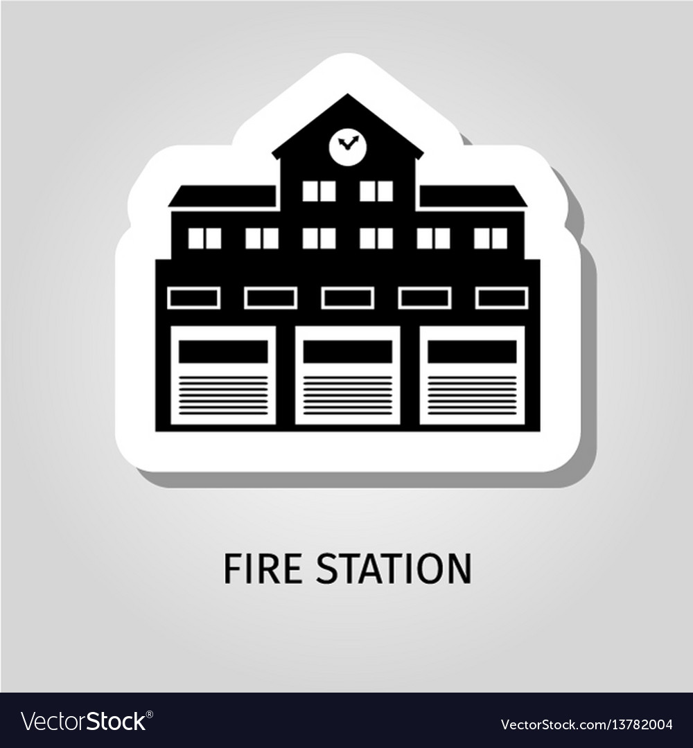 Fire station black building sticker
