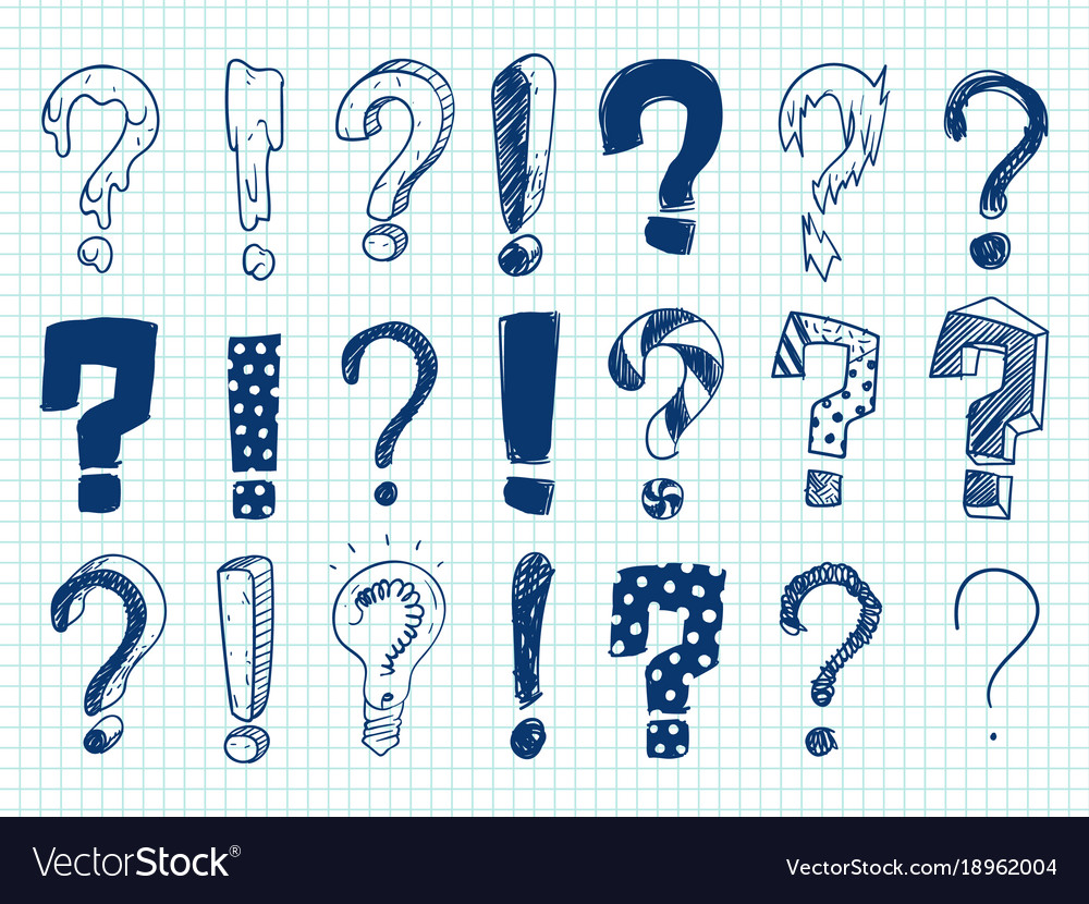 Hand drawn sketch exclamation and question marks