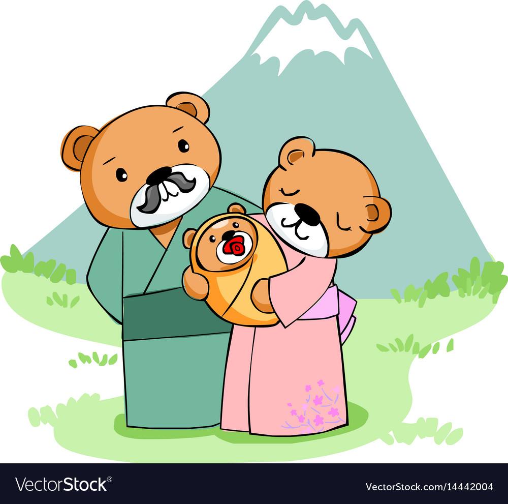 Happy family bear at mountain vector image