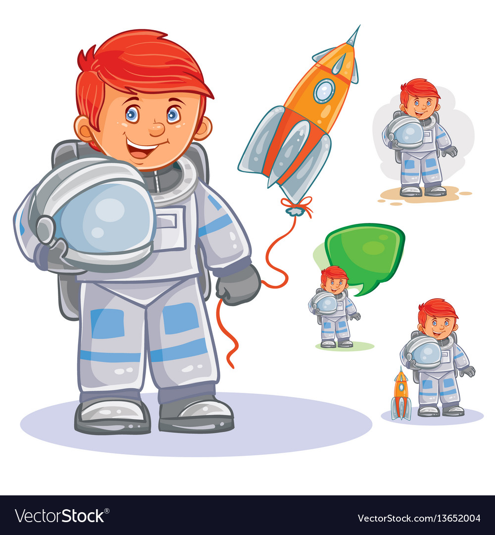 Icon of small child astronaut in a space