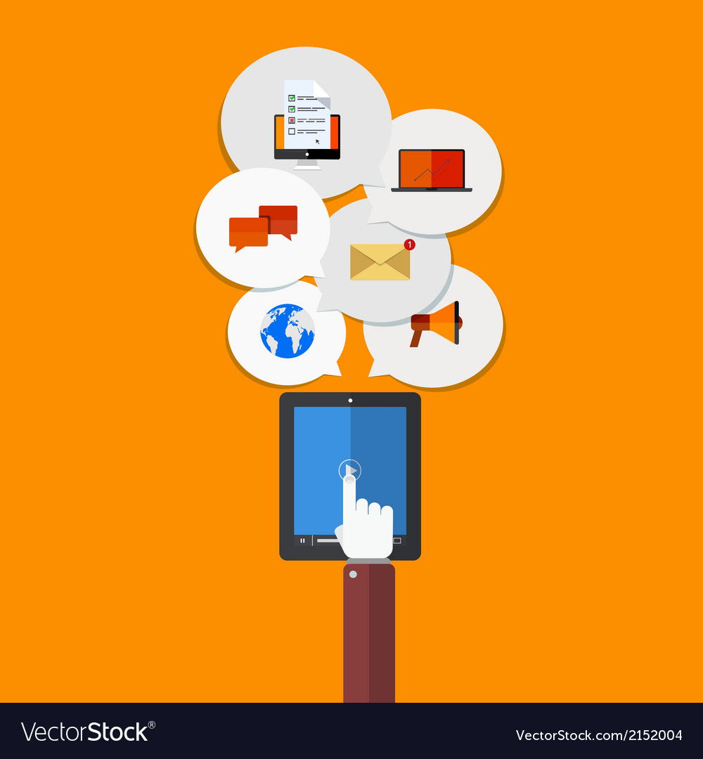 Modern flat icons set mobile services vector image