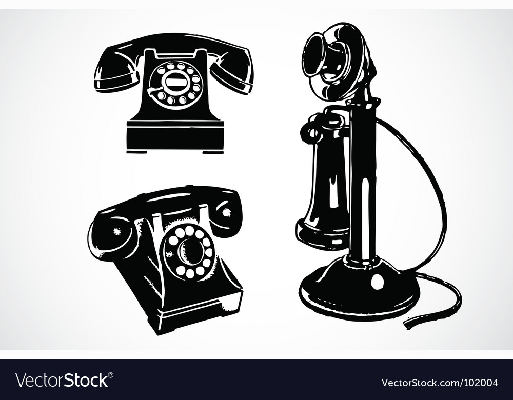 Retro phone icons vector image