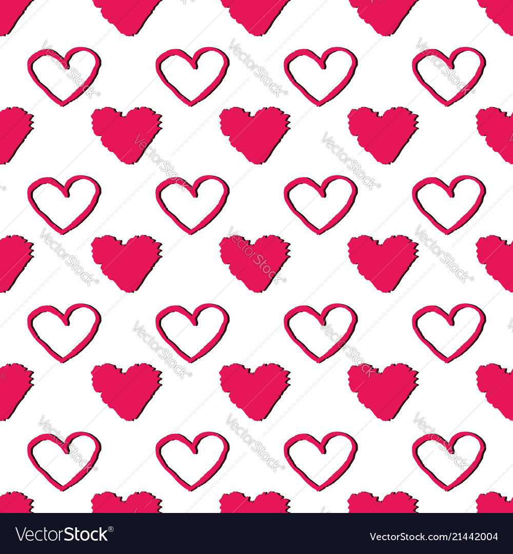 Seamless pattern with hearts abstract background