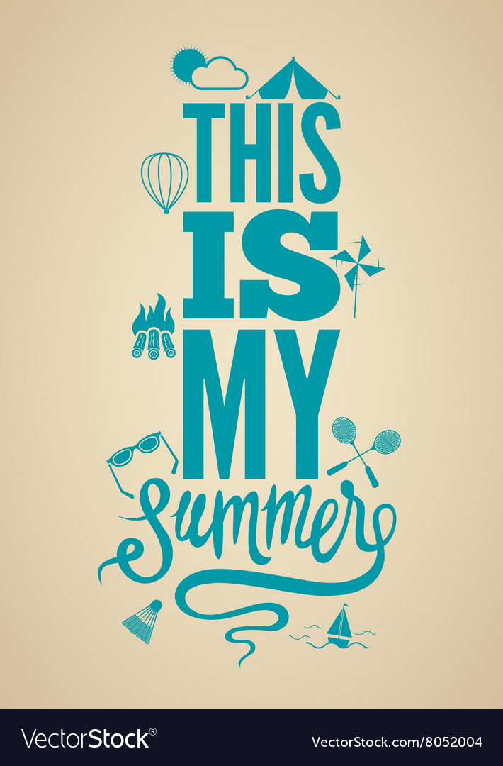 Summer time retro poster Typographical design