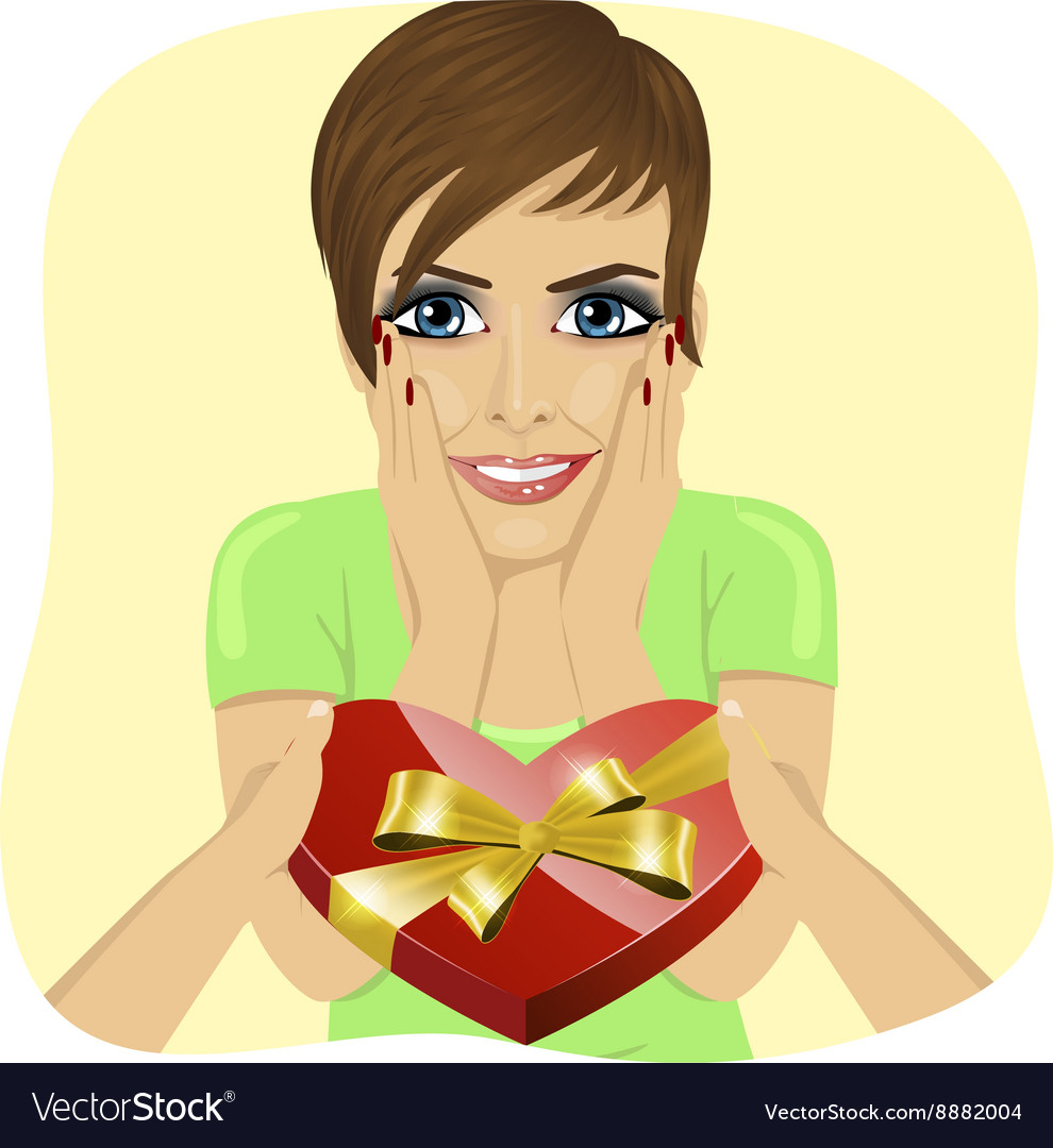 Surprised young woman receiving heart shaped box vector image