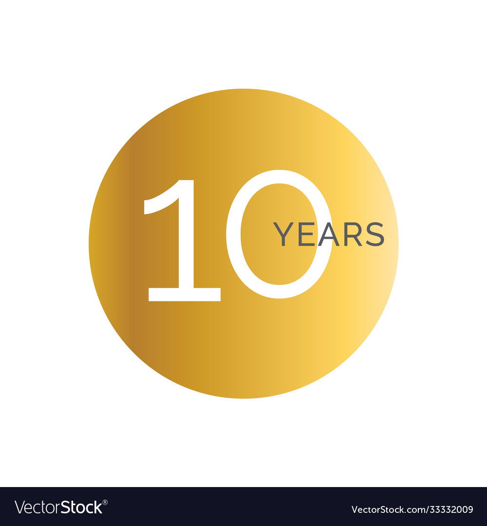 10th anniversary gold banner template tenth