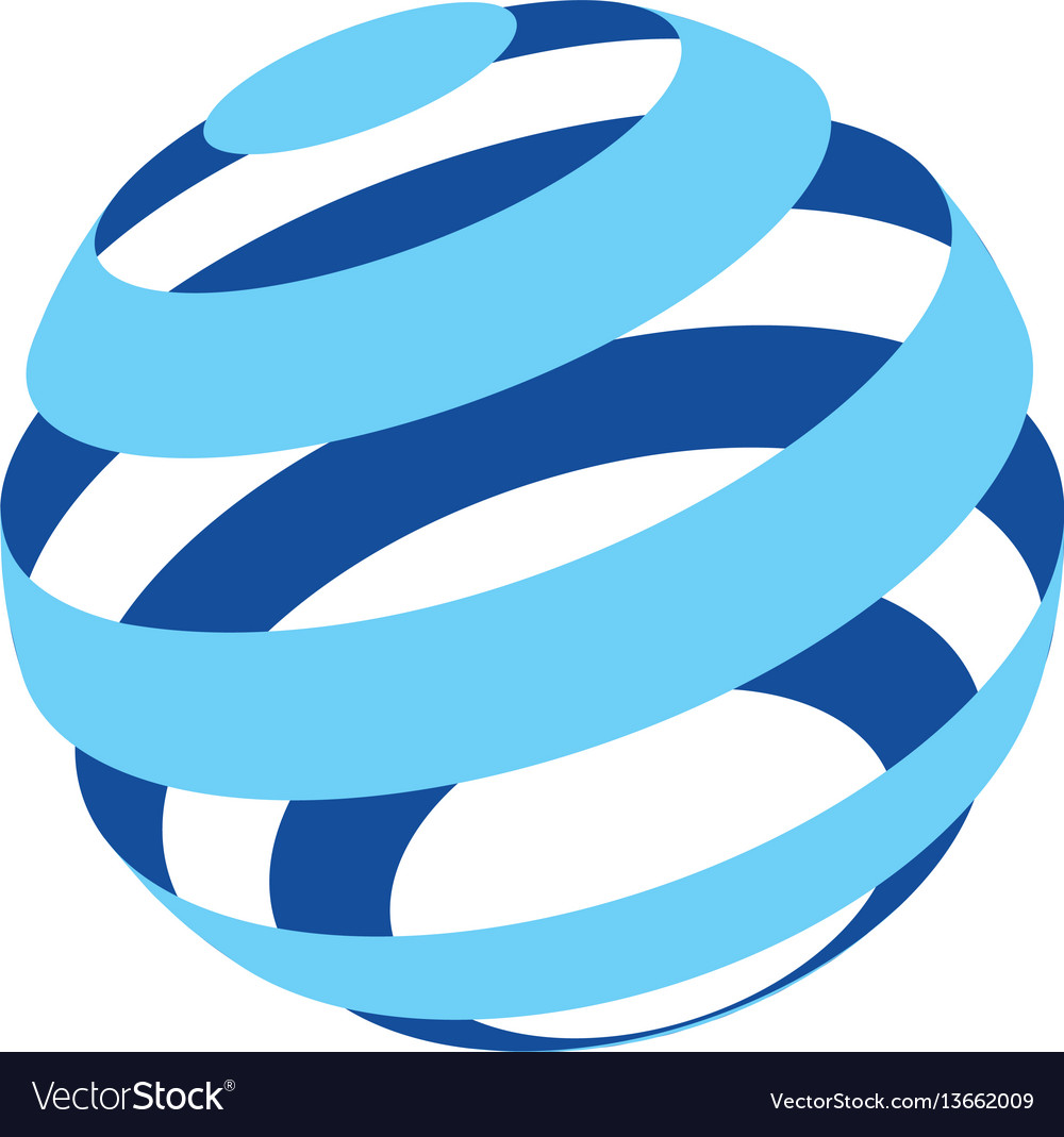 Abstract logo of a globo made of blue stripes on a
