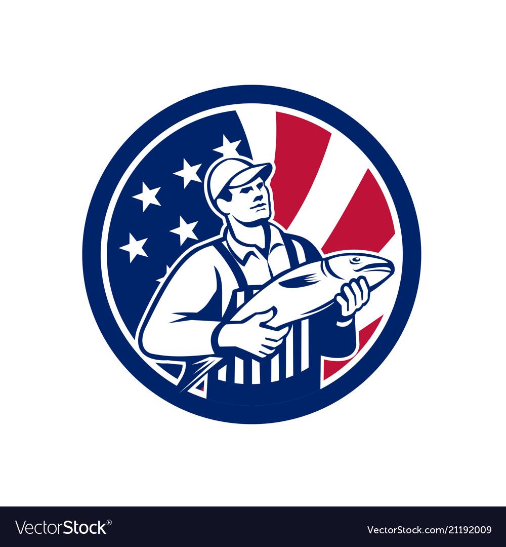American fishmonger union jack flag mascot