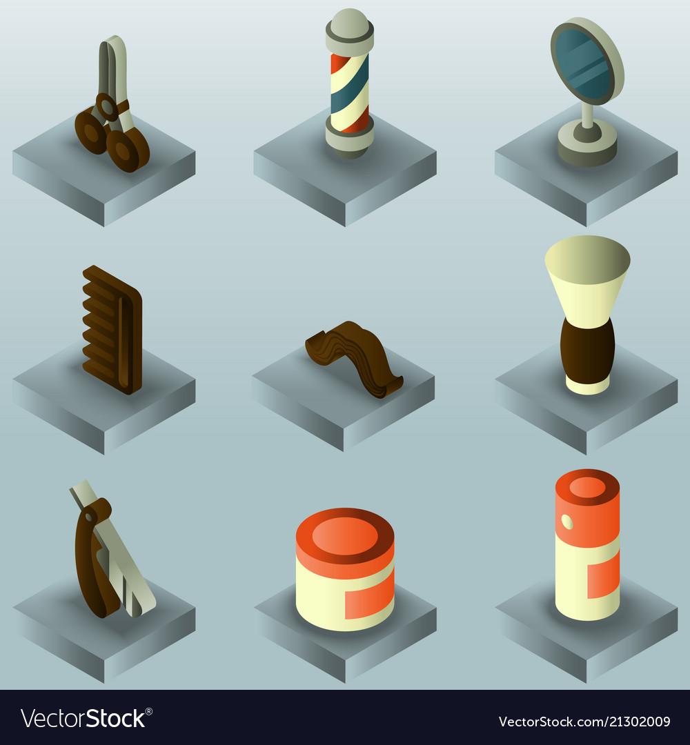 Barber shop color gradient isometric set