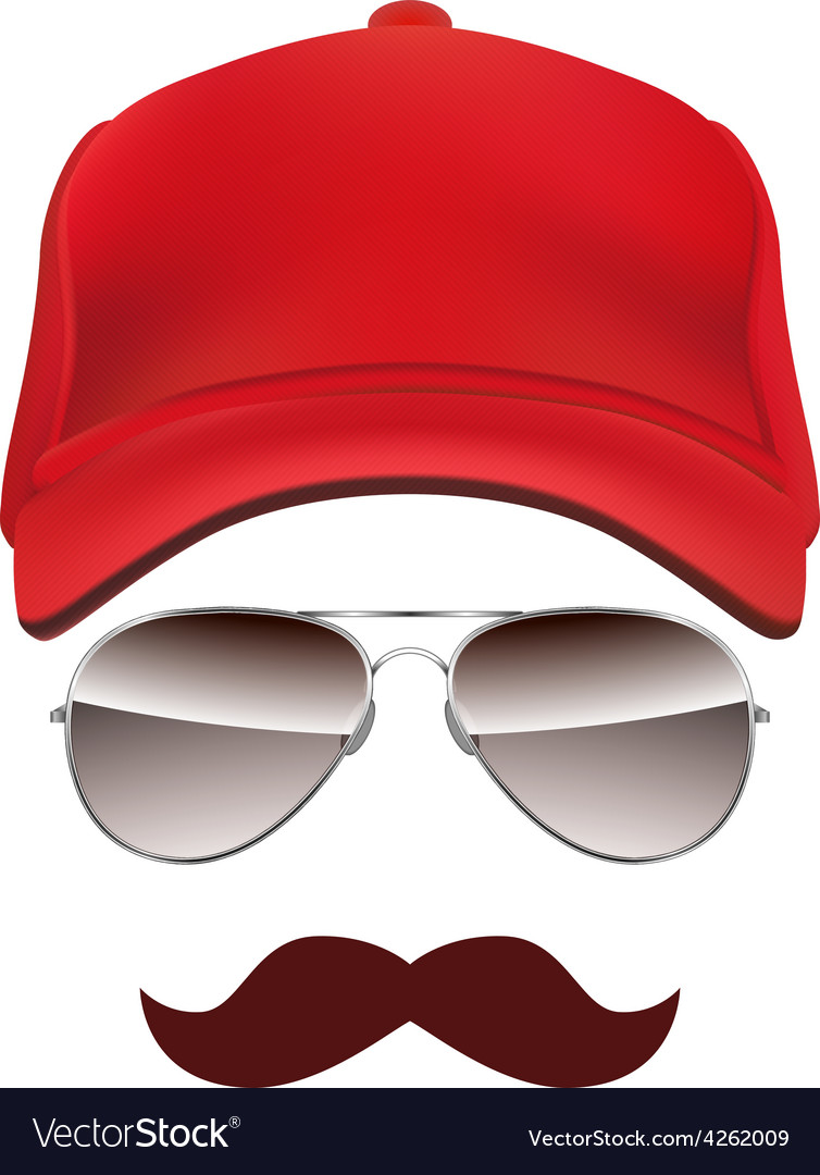 Baseball cap Glasses and Mustache isolated on