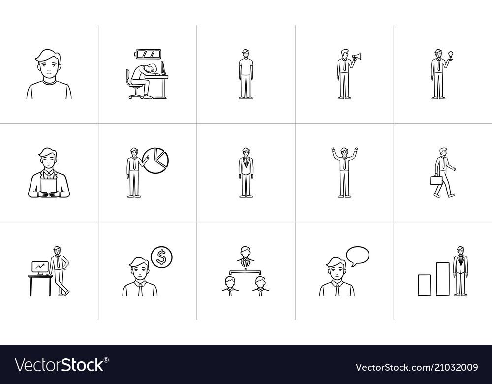 Business hand drawn sketch icon set