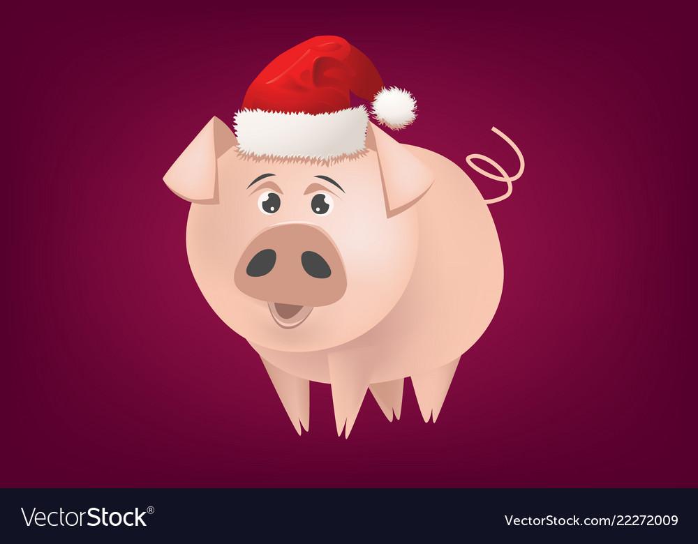 Cartoon pig with santa hat