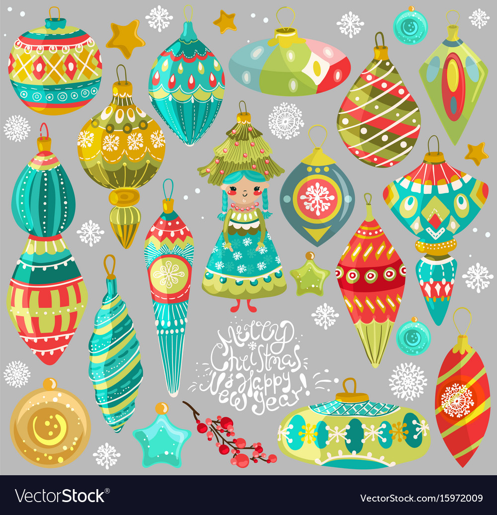 Collection of cute christmas elements vector image