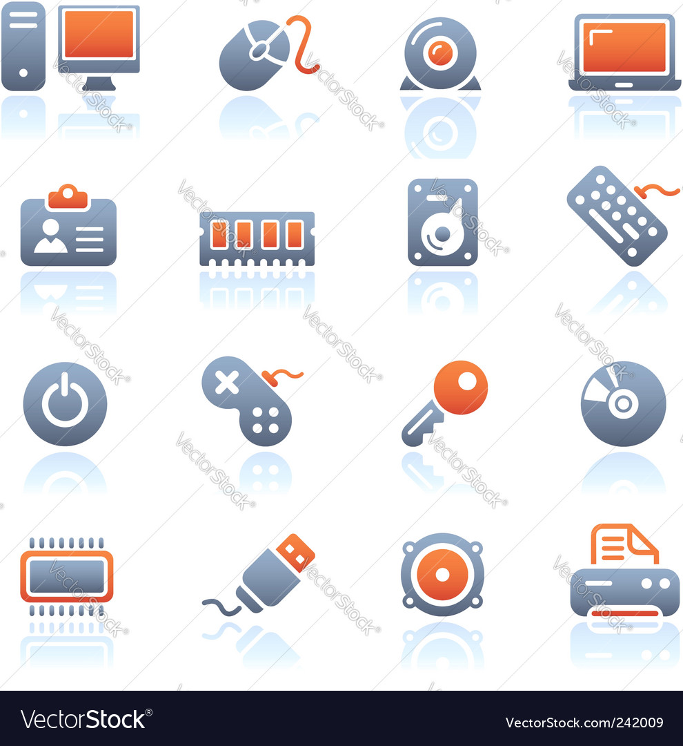 Computer and devices icons vector image