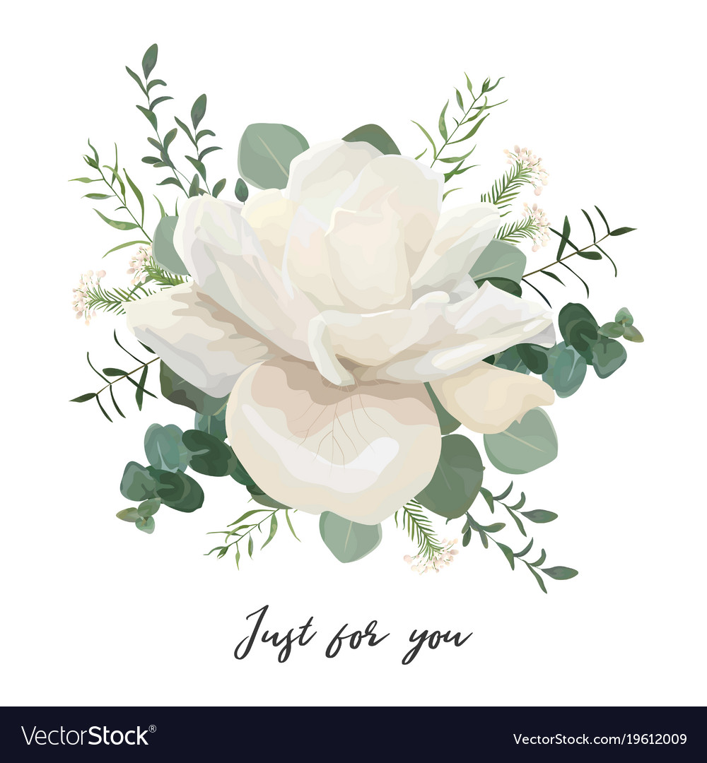 Floral card design with white roses and wucalyptus